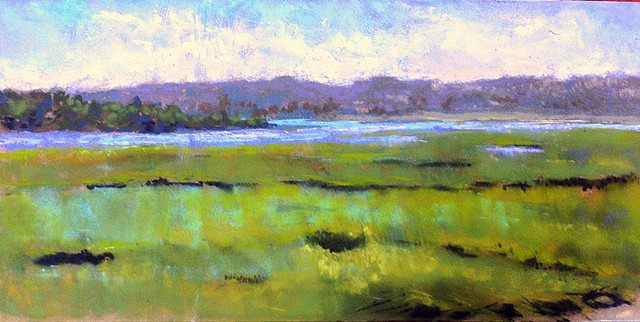 Landscape painting overlooking the tidal marsh on a bright sunny summer day