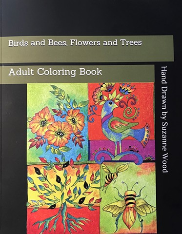 Adult Coloring Book hand drawn pen and inks by Artist/Illustrator Suzanne Wood