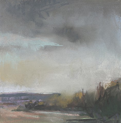 landscape, pastel, small, low horizon, constable, moody, sky, sunset, winter