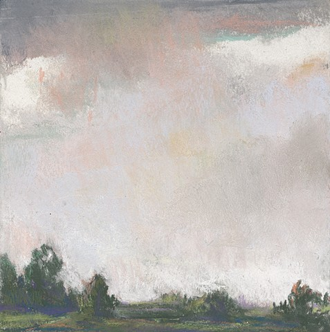 landscape, pastel, small, low horizon, constable, moody, sky, sunset,