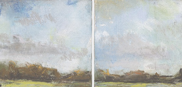 landscape, pastel, small, low horizon, constable, sunny
