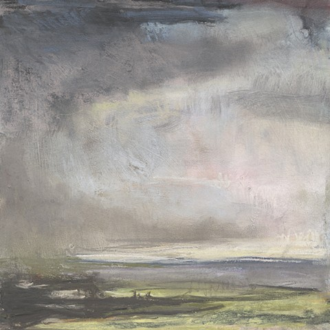 landscape, pastel, small, low horizon, constable, moody, sky, stormy