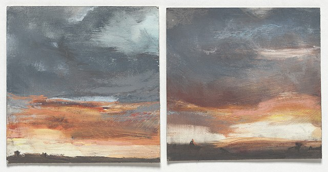 landscape, sunset, stormy, small, turner, pastel