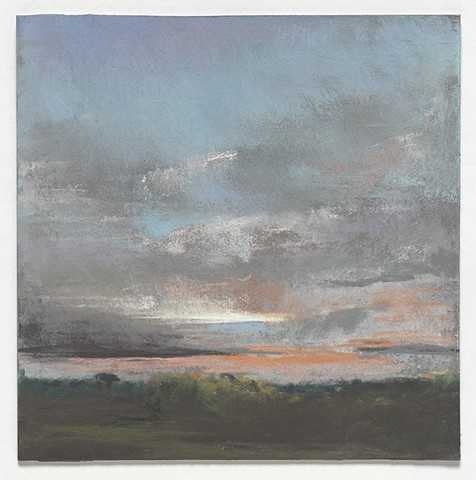 landscape, pastel, small, low horizon, constable, moody, sunset