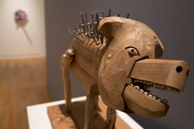 Rick Bartow Big Nail Dog 2013 wood, nails, false teeth, paintbrush, pencil Courtesy of the Artist and  Froelick Gallery, Portland, Oregon