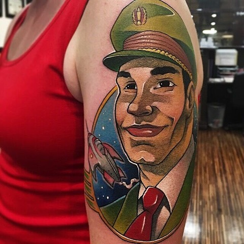 Illustration based on Dan Dare Comic Design. Tattoo by Daniel Danckert