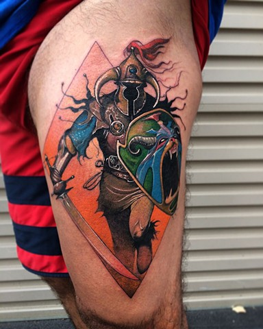 Melvyn Grant Illustration. Full colour tattoo done by Daniel Danckert. Korpus Tattoo Studio, Melbourne