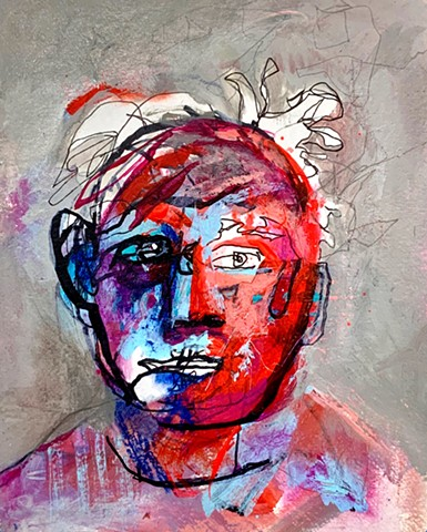 mixed media abstract portrait