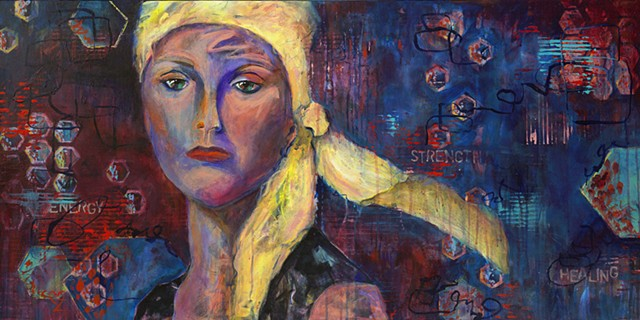 Acrylic painting, modern art, intuitive painting, lady wearing scarf, adversity, cancer, chemo, radiation, strength, energy, healing