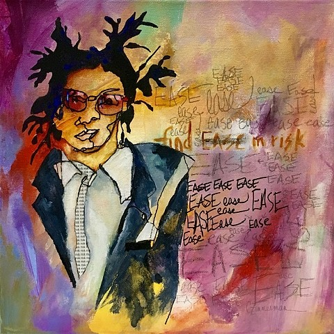 Blind contour Basquiat mixed media