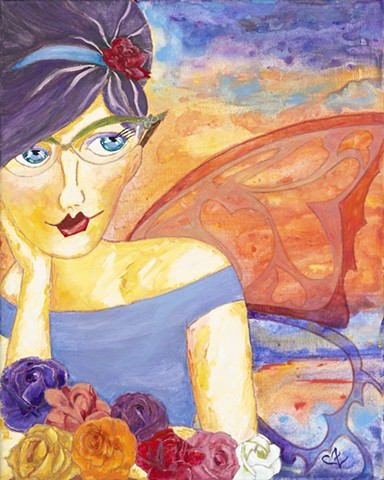 Acrylic painting, modern art, mother, roses, butterfly wing, angel wing, cat eye glasses