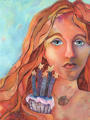contemporary art, acrylic painting, mixed media, portrait, stars, cupcake, rainbow connection