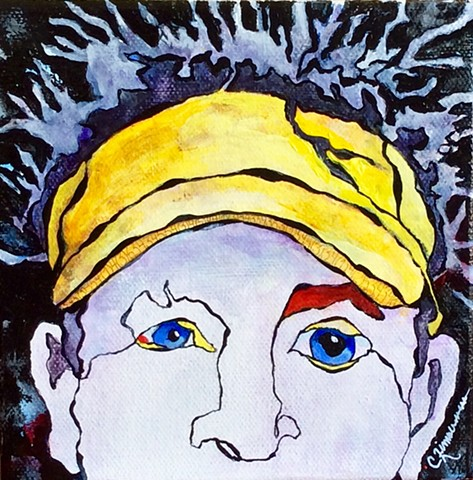 acrylic painting, modern art, contour drawing, mixed media, cancer, skin cancer, brother, golfer