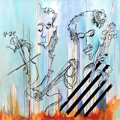 Blind contour mixed media music musicians