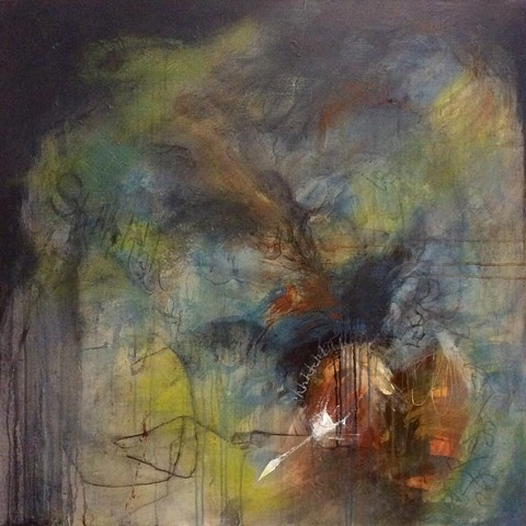 Acrylic painting, contemporary art, abstract, intuitive painting, Cindi zimmerman