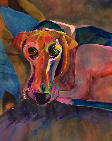 Acrylic painting, mixed media, modern art, dog, beagle, abstract, colorful dog