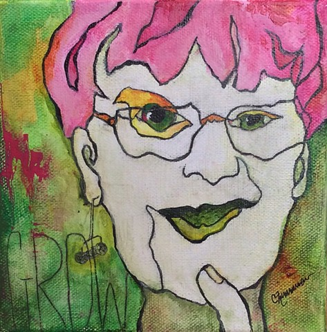 Modern art, abstract portrait, contour drawing, acrylic, mixed media, cancer, breast cancer