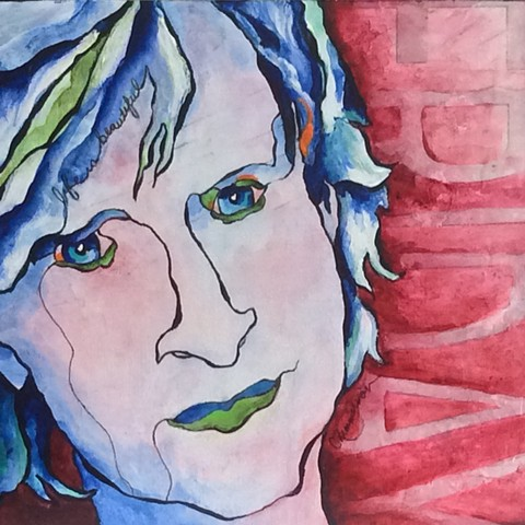 Contemporary art, mixed media, acrylic painting, man's face, cancer, life is beautiful, testify, Friday, Cindi Zimmerman