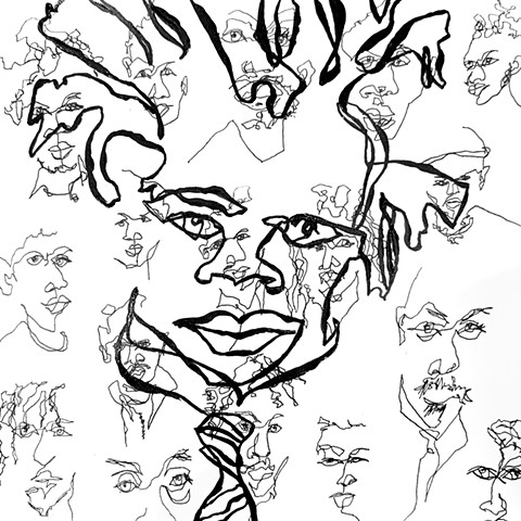 Blind contour, Basquiat abstract portrait