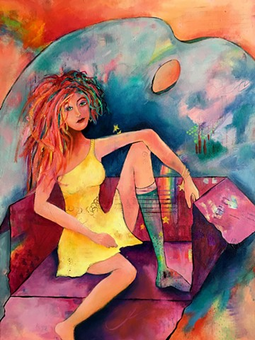 contemporary art, acrylic painting, figure, figurative, portrait, mixed media, crazy hair, stars, rainbow connection, outside the box, yellow dress
