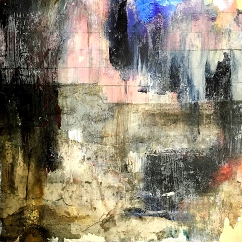 mixed media, abstract, dark neutrals, pink, blue