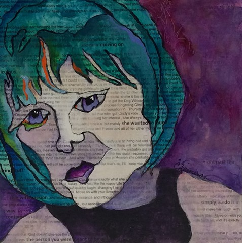 acrylic painting, mixed media, modern art, contour drawing, cancer, chemo, radiation, ovarian cancer
