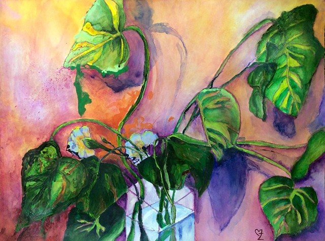 acrylic painting, contemporary art, Cindi Zimmerman, plant, colorful