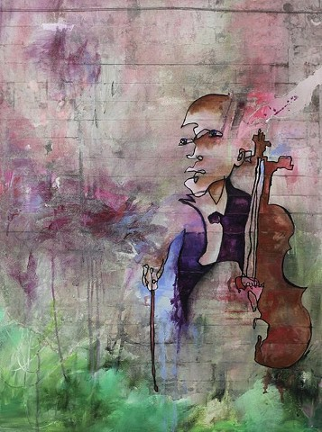 Blind contour mixed media cellist cello music