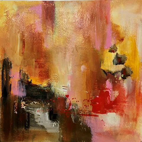 abstract, red, yellow, neutrals