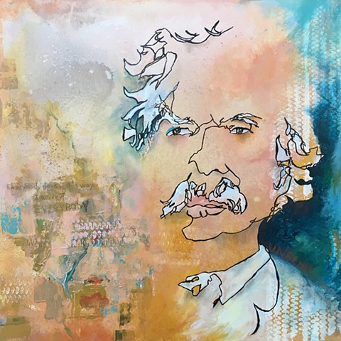 Blind Contour mixed media Mark Twain