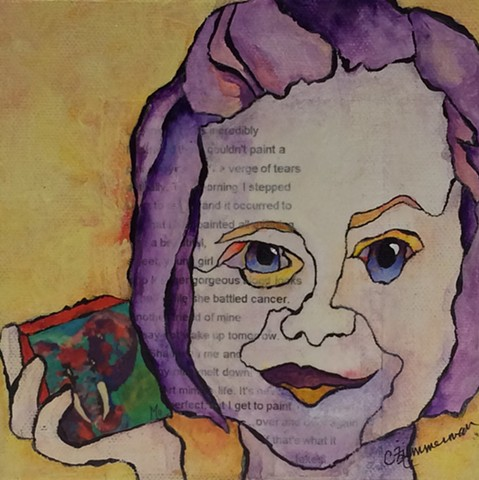 acrylic painting, mixed media, modern art, contour drawing, cancer, chemo, radiation, hodgkins lymphoma, reflect, hope, cindi zimmerman