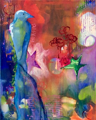 acrylic painting, contemporary art, intuitive abstract, bird, Cindi zimmerman
