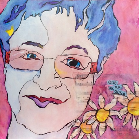 contemporary art, mixed media, acrylic painting, cancer, breast cancer, que sera sera, contour drawing, Cindi Zimmerman, music, sing, mother