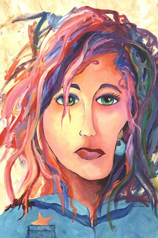 contemporary art, acrylic painting, blind contour, portrait, mixed media, crazy hair, stars