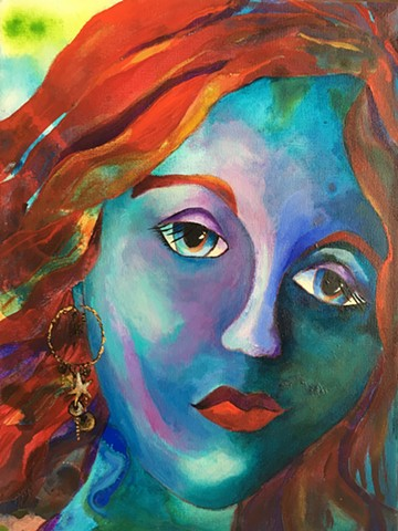 contemporary art, acrylic painting, portrait, stars, earring, red hair, big eyes, red lips