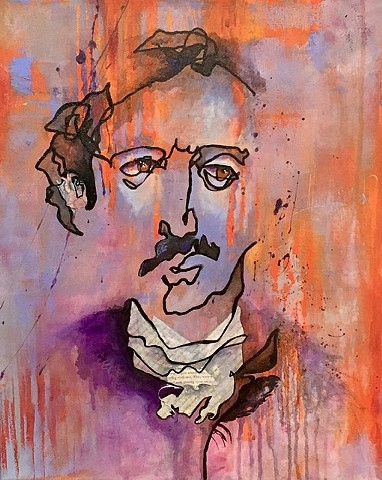 Blind contour mixed media Edgar Allen Poe