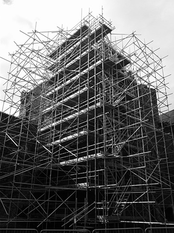 Black and white smart phone photo of scaffold