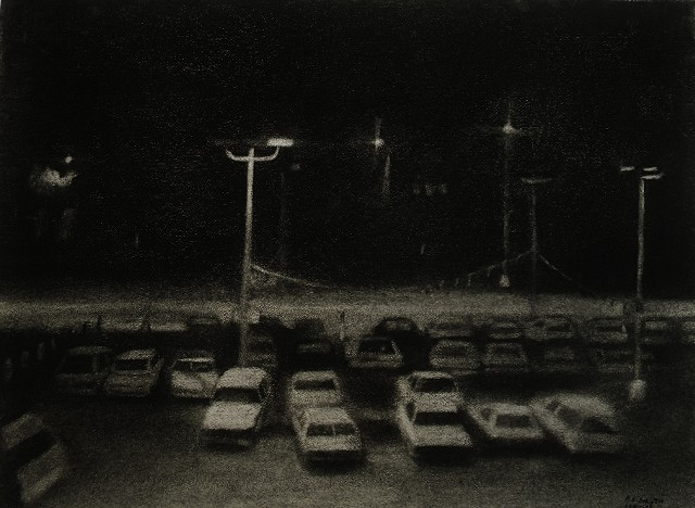 Charcoal drawing of nightscape