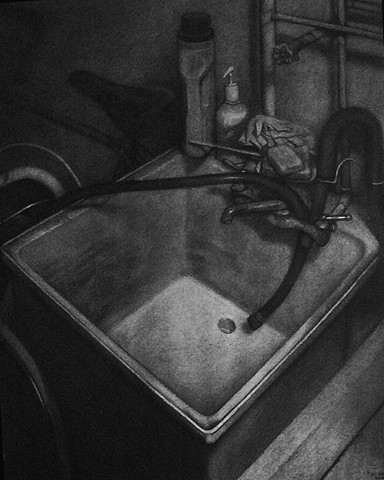 Charcoal drawing of an interior wiith sink