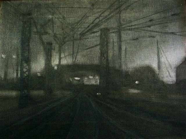 Oil on Canvas Nightscape of rail yard