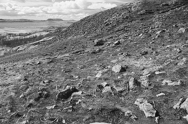 black and white, photo, rock strewn hillside, Iceland