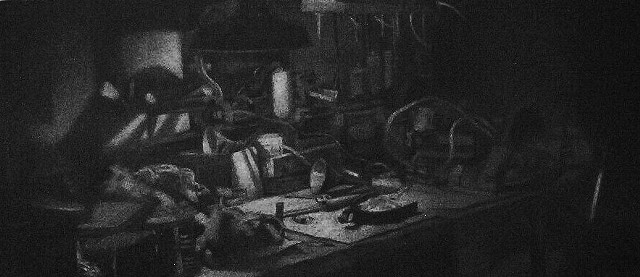 Charcoal drawing of interior workbench