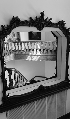 black and white, photo, Mirror, reflection, stairway, museum, The Netherlands