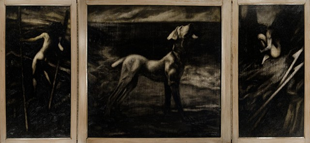 Oil on panel, triptych, nightscape of dog, male figure walking on stilts