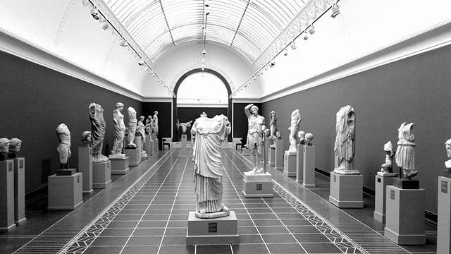 B&W, photo of  Greek sculpture at museum, Denmark