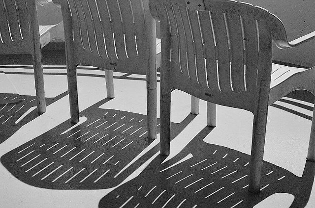 Black and White photo, chairs, shadows