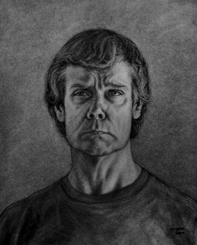 Charcoal drawing, self-portrait
