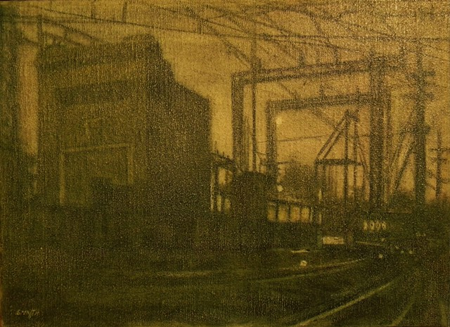 monochrome Nightscape of electric Plant in Oil wash