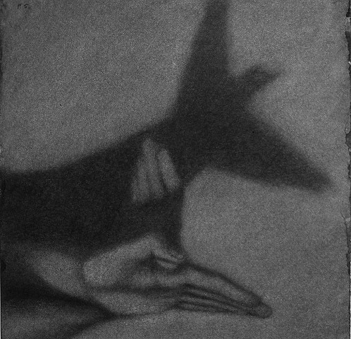 Charcoal drawing of hand-shadow