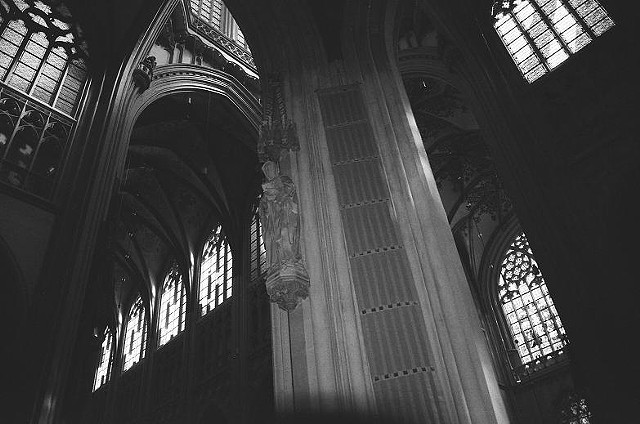black and white, photo, church interior, church windows